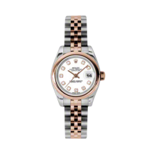 Rolex Ladies 18K Two Tone Rose Gold Datejust - White Diamond Dial - Domed/ Smooth Bezel - Jubilee Bracelet 26 MM 179161