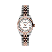 Rolex Ladies 18K Two Tone Rose Gold Datejust - White Roman Dial - Domed/ Smooth Bezel - Jubilee Bracelet 26 MM 179161