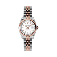 Rolex Ladies 18K Two Tone Rose Gold Datejust - White Index Dial - Domed/ Smooth Bezel - Jubilee Bracelet 26 MM 179161