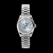 Rolex Ladies Datejust - Platinum President Glacier Blue Diamond Dial - Domed/ Smooth Bezel - Presidential Bracelet 26 MM 179166