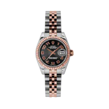 Rolex Ladies 18K Two Tone Rose Gold Datejust - Black Concentric Arabic Dial - 18K Fluted Bezel - Jubilee Bracelet 26 MM 179171