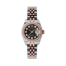 Rolex Ladies 18K Two Tone Rose Gold Datejust - Black Jubilee Diamond Dial - 18K Fluted Bezel - Jubilee Bracelet 26 MM 179171
