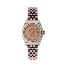 Rolex Ladies 18K Two Tone Rose Gold Datejust - Pink Goldust Mother of Pearl Diamond Dial - 18K Fluted Bezel - Jubilee Bracelet 26 MM 179171
