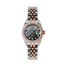 Rolex Ladies 18K Two Tone Rose Gold Datejust - Dark Mother of Pearl Diamond Dial - 18K Fluted Bezel - Jubilee Bracelet 26 MM 179171