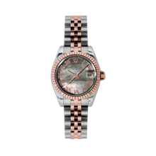 Rolex Ladies 18K Two Tone Rose Gold Datejust - Dark Mother of Pearl Roman Dial - 18K Fluted Bezel - Jubilee Bracelet 26 MM 179171