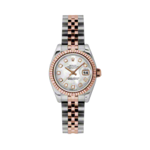 Rolex Ladies 18K Two Tone Rose Gold Datejust - Mother of Pearl Diamond Dial - 18K Fluted Bezel - Jubilee Bracelet 26 MM 179171