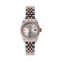 Rolex Ladies 18K Two Tone Rose Gold Datejust - Silver Concentric Arabic Dial - 18K Fluted Bezel - Jubilee Bracelet 26 MM 179171