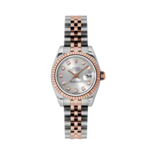 Rolex Ladies 18K Two Tone Rose Gold Datejust - Silver Diamond Dial - 18K Fluted Bezel - Jubilee Bracelet 26 MM 179171