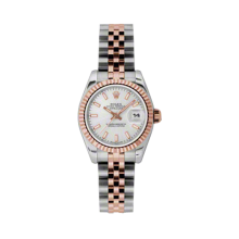 Rolex Ladies 18K Two Tone Rose Gold Datejust - Silver Index Dial - 18K Fluted Bezel - Jubilee Bracelet 26 MM 179171
