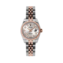 Rolex Ladies 18K Two Tone Rose Gold Datejust - Silver Jubilee Diamond Dial - 18K Fluted Bezel - Jubilee Bracelet 26 MM 179171