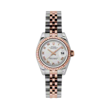 Rolex Ladies 18K Two Tone Rose Gold Datejust - Silver Roman Dial - 18K Fluted Bezel - Jubilee Bracelet 26 MM 179171