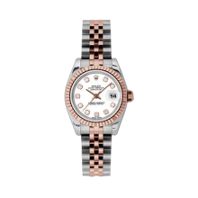 Rolex Ladies 18K Two Tone Rose Gold Datejust - White Diamond Dial - 18K Fluted Bezel - Jubilee Bracelet 26 MM 179171