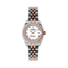 Rolex Ladies 18K Two Tone Rose Gold Datejust - White Roman Dial - 18K Fluted Bezel - Jubilee Bracelet 26 MM 179171