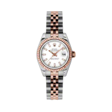 Rolex Ladies 18K Two Tone Rose Gold Datejust - White Index Dial - 18K Fluted Bezel - Jubilee Bracelet 26 MM 179171
