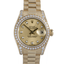 Rolex Ladies 18K Yellow Gold President - 179158 Factory Champagne Diamond Dial with Factory Diamond Bezel & Lugs