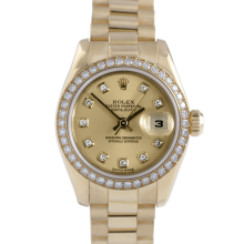 Rolex Ladies 18K Yellow Gold President - 179138 Factory Champagne Diamond Dial with Factory Diamond Bezel