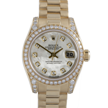 Rolex Ladies 18K Yellow Gold President - 179158 Factory Mother of Pearl Diamond Dial with Factory Diamond Bezel & Lugs