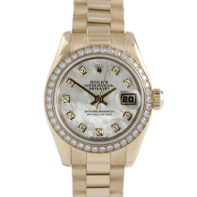 Rolex Ladies 18K Yellow Gold President - 179138 Factory Mother of Pearl Diamond Dial with Factory Diamond Bezel