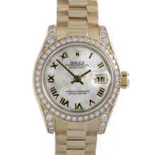 Rolex Ladies 18K Yellow Gold President - 179158 Factory Mother of Pearl Roman Dial with Factory Diamond Bezel & Lugs