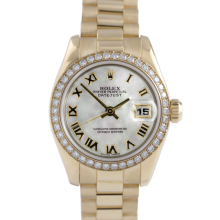 Rolex Ladies 18K Yellow Gold President - 179138 Factory Mother of Pearl Roman Dial with Factory Diamond Bezel