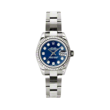 Rolex Ladies White Gold Datejust - President Blue Diamond Dial - 18K Fluted Bezel - Oyster Bracelet 26 MM 179179