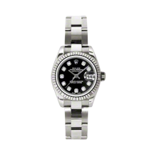 Rolex Ladies White Gold Datejust - President Black Diamond Dial - 18K Fluted Bezel - Oyster Bracelet 26 MM 179179