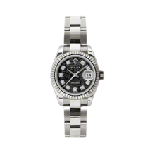 Rolex Ladies White Gold Datejust - President Black Jubilee Diamond Dial - 18K Fluted Bezel - Oyster Bracelet 26 MM 179179