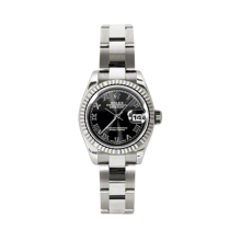 Rolex Ladies White Gold Datejust - President Black Roman Dial - 18K Fluted Bezel - Oyster Bracelet 26 MM 179179