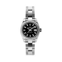 Rolex Ladies White Gold Datejust - President Black Index Dial - 18K Fluted Bezel - Oyster Bracelet 26 MM 179179