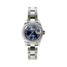 Rolex Ladies White Gold Datejust - President Blue Roman Dial - 18K Fluted Bezel - Oyster Bracelet 26 MM 179179