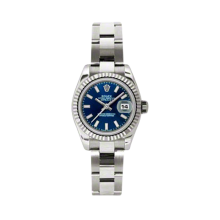 Rolex Ladies White Gold Datejust - President Blue Index Dial - 18K Fluted Bezel - Oyster Bracelet 26 MM 179179
