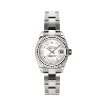 Rolex Ladies White Gold Datejust - President Mother of Pearl Diamond Dial - 18K Fluted Bezel - Oyster Bracelet 26 MM 179179