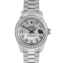 Rolex Ladies 18K White Gold President - 179179 Factory Mother of Pearl Diamond Dial with Factory Diamond Bezel