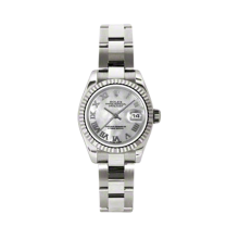 Rolex Ladies White Gold Datejust - President Mother of Pearl Roman Dial - 18K Fluted Bezel - Oyster Bracelet 26 MM 179179