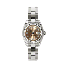 Rolex Ladies White Gold Datejust - President Pink Diamond Dial - 18K Fluted Bezel - Oyster Bracelet 26 MM 179179
