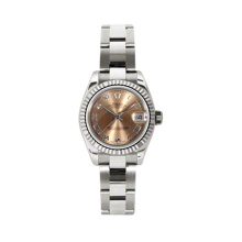 Rolex Ladies White Gold Datejust - President Pink Roman Dial - 18K Fluted Bezel - Oyster Bracelet 26 MM 179179