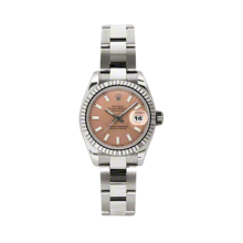 Rolex Ladies White Gold Datejust - President Pink Index Dial - 18K Fluted Bezel - Oyster Bracelet 26 MM 179179