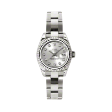 Rolex Ladies White Gold Datejust - President Silver Diamond Dial - 18K Fluted Bezel - Oyster Bracelet 26 MM 179179
