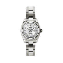 Rolex Ladies White Gold Datejust - President Silver Jubilee Diamond Dial - 18K Fluted Bezel - Oyster Bracelet 26 MM 179179