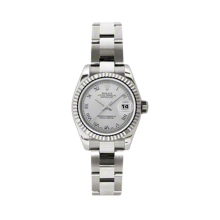 Rolex Ladies White Gold Datejust - President Silver Roman Dial - 18K Fluted Bezel - Oyster Bracelet 26 MM 179179