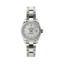 Rolex Ladies White Gold Datejust - President Silver Index Dial - 18K Fluted Bezel - Oyster Bracelet 26 MM 179179