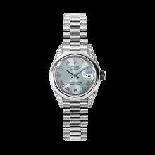 Rolex Ladies Datejust - Platinum President Glacier Blue Roman Dial - Domed/ Smooth Bezel - Diamond Lugs - Presidential Bracelet 26 MM 179296