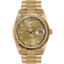 Rolex Mens Yellow Gold Day Date President - with Custom Champagne Diamond Dial & Fluted Bezel - 18038 Model