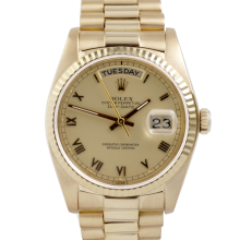 Rolex Mens Yellow Gold Day Date President - Champagne Roman Dial & Fluted Bezel Single Quickset 18038 Model