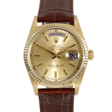 Rolex Mens Yellow Gold Day Date President - Champagne Stick Dial & Fluted Bezel On A Brown Leather Band 18038 Model