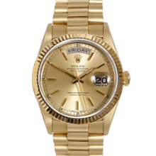 Rolex Mens 18K Yellow Gold Day Date President - Champagne Stick Dial Fluted Bezel Model 18038