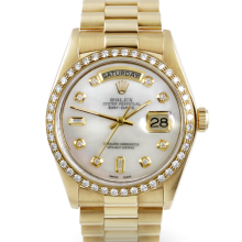 Rolex Mens Yellow Gold Day Date President - Mother Of Pearl Diamond Dial & Diamond Bezel Single Quickset 18038 Model