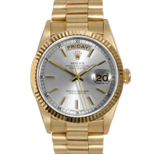 Rolex Mens President 18K Yellow Gold Day Date - with Silver Stick Dial - Fluted Bezel - 18038 Model