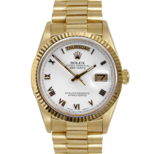 Rolex Mens Yellow Gold Day Date President - White Roman Dial & Fluted Bezel Single Quickset 18038 Model