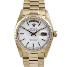 Rolex Mens Yellow Gold Day Date President - White Stick Dial & Fluted Bezel Single Quickset 18038 Model